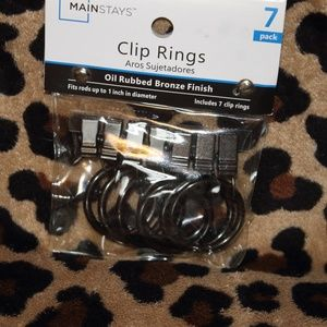 NIB MAINSTAYS CLIP RINGS A PACK OF 7 BRONZE FINISH